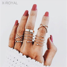 X-ROYAL 6Pcs/set Korean Style Unique Fashion Female Knuckle Rings Vintage Women Alloy Finger Rings Classic Combination Ring Suit a suit of hot sale solid color women s alloy knuckle rings