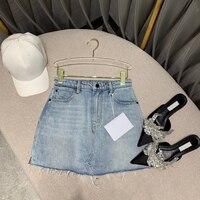 2020 light blue denim womens new high end tassel hem mini pencil skirt sexy high waist runway design jeans skirts