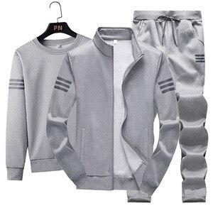 Image 5 - 3Pcsชุดแฟชั่นผู้ชายฤดูใบไม้ร่วงชุดกีฬาSportwear Casual Sweatshirt + ขนแกะเสื้อ + กางเกงกีฬาชุดสูทplusขนาด