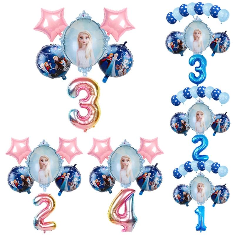 1 conjunto elsa disney frozen princesa balões de hélio 32 polegada número do chuveiro do bebê feliz aniversário decorações da festa crianças brinquedos presentes da menina