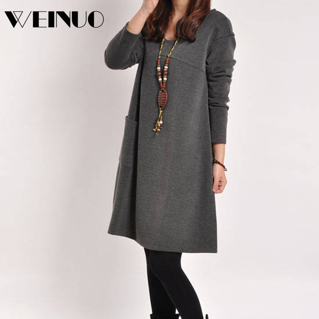 Women Dress Winter Dress 2020Top New Women Fashion Casual Solid V-neck Loose Pocket Dress Long Sleeve Loose Dress Sukienki