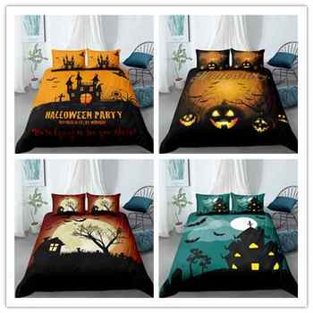 Halloween orange bedding Sets home textile Good quality European style duvet cover pillow cases