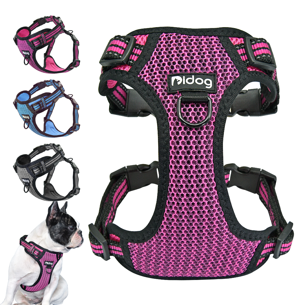No-pull Nylon Dog Harness Reflective Pet Puppy Harness Vest Safety Adjustable For Small Medium Large Dogs Pitbull French Bulldog