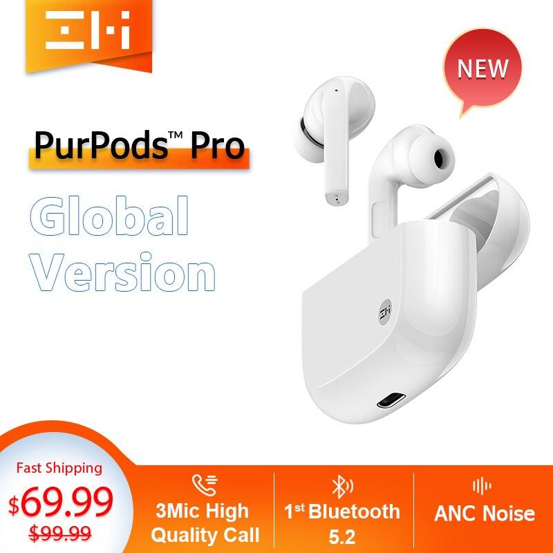 Глобальная версия ZMI PurPods Pro во всем мире 1st Bluetooth 5,2 True Беспроводной наушники 3Mic анти Шум ANC вкладыши Водонепроницаемый наушников