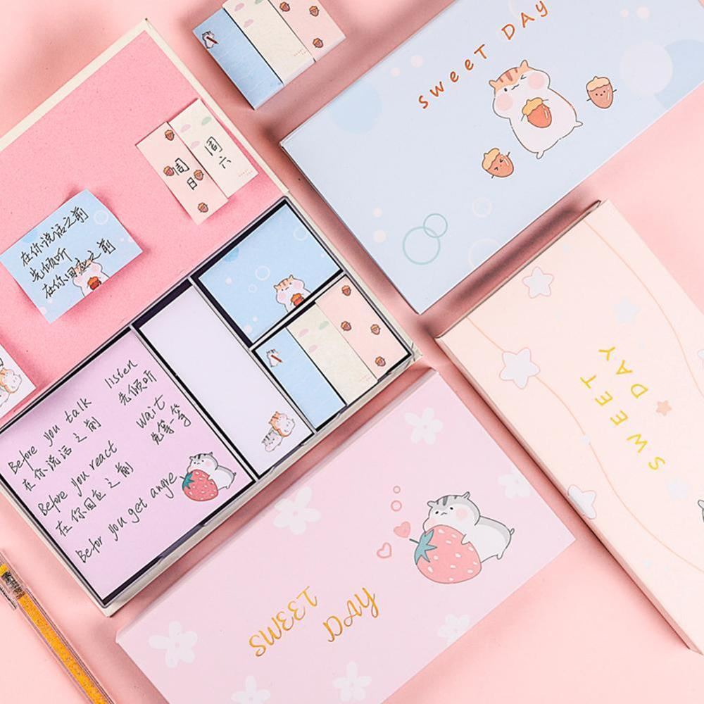 Mouse Model Korean Ins Creative Gold Stamping Tear Off Student's Note Pad Small Book Sticker Set Memo Sticky Notes