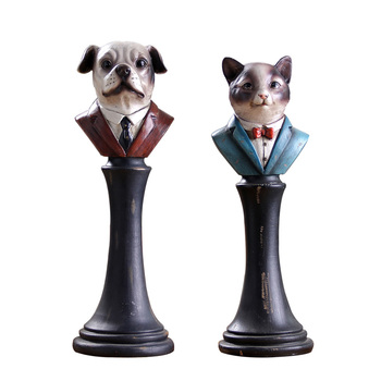 Retro Creative Gentleman Cats and Dogs Statue Cute Animals Bust Figurine Resin Art&Craft Nordic Home Decoration Office R2635