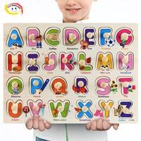 3Dパズル木製おもちゃ学習子供のためアルファベット動物フルーツ輸送野菜形状赤ちゃんの早期教育玩具
