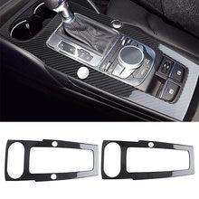 Samochód stylizacji z włókna węglowego centrum ABS konsoli Panel zmiany biegów rama klosz do Audi A3 2014 2015 2016 2017 2018 2019 LHD