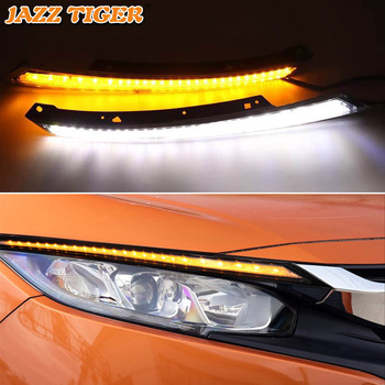 JAZZ TIGER 2PCS Car Headlight Decoration Yellow Turn Signal 12V DRL LED Daytime Running Light For Honda Civic 2016 2017 2018