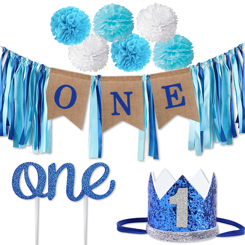 Baby 1st Birthday Party Decorations Kids Blue Pink First Birthday Banner 1 ONE Year Birthday Boy Girl Party Supplies Baby Shower