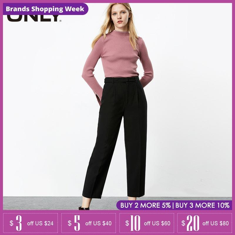 ONLY winter Loose Straight Fit Tall Waist Woolen Crop Pants| 119314511