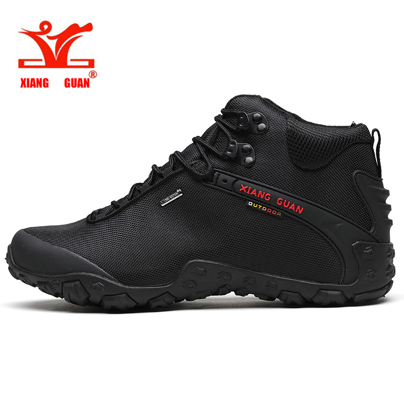XIANG GUAN Men High Top Hiking Shoes Windproof Trekking Army Boots Blakc Classic Tactical