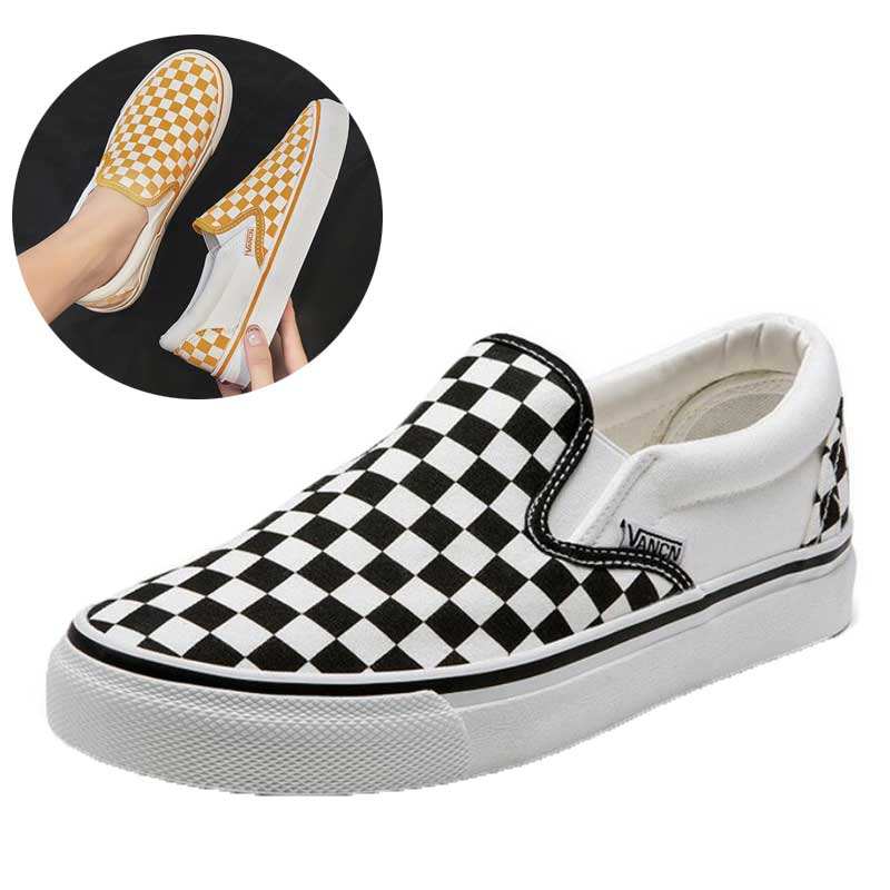 Slip On Flat Canvas Shoes Women Checkered Vulcanize Shoes 2020Black White Plaid Female Casual Loafers Ladies Lazy Shoes