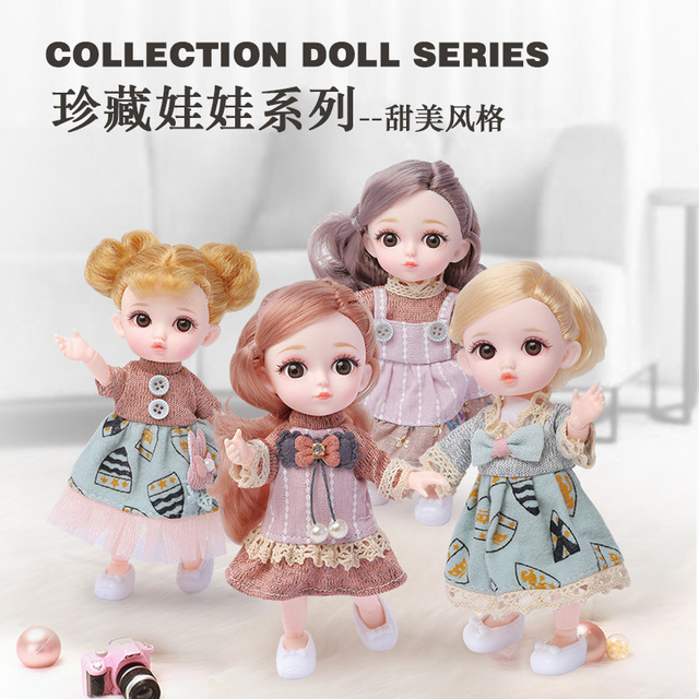 16cm/31cm Bjd Doll 12 Moveable Joints 1/12 Girls Dress 3D Eyes Toy with Clothes Shoes Kids Toys for Girls Children Birthday Gift 3
