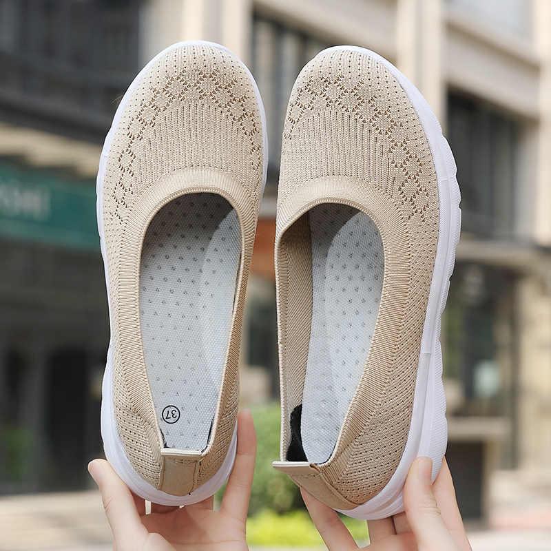 2020 femmes baskets mode chaussettes chaussures décontracté blanc baskets été tricoté vulcanisé chaussures femmes formateurs Tenis Feminino