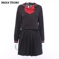 Pastel Goth Black Sailor Top&Skirts Sets Japanese Two Pieces Preppy Pleated Skirt