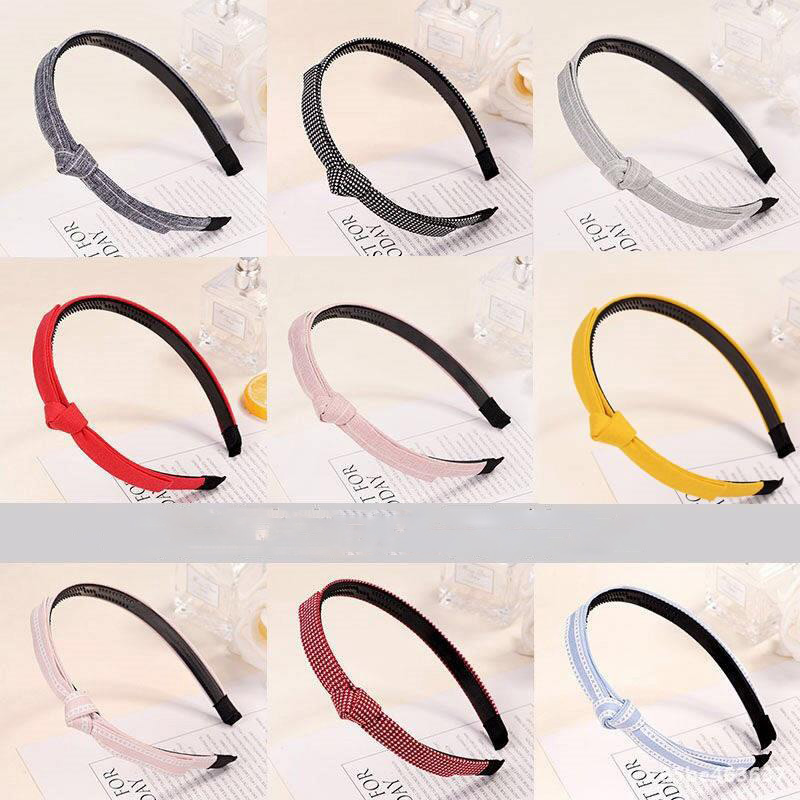 Haimeikang Knotting Dot Bezel Hairbands Women Solid Color Fashion Headwear Headband Fabric Bow Head Hoop Hair Accessories