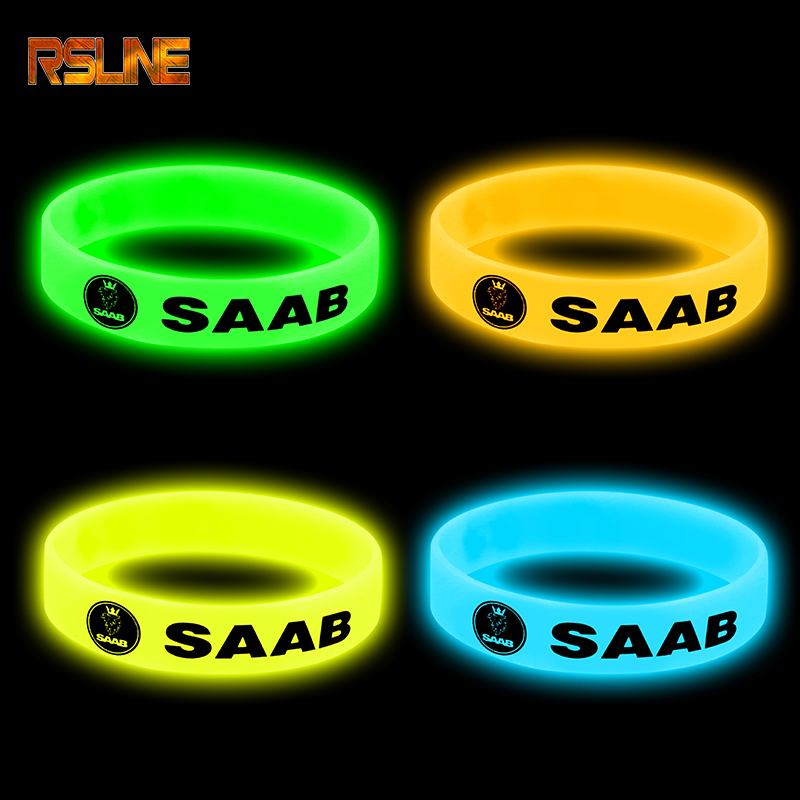 1pc Luminous Car Badge Silicone Holographic Bracelet Sport Wristband For Saab 93 95 Saab 9-3 9-5 900 Car Accessories Car Styling