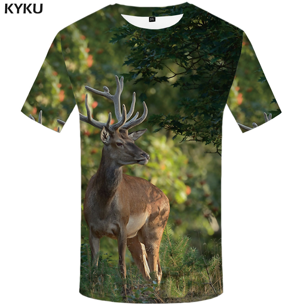 KYKU Brand Deer T-shirt Men Tree Tshirts Casual Animal T-shirts 3d Hip Hop Tshirt Printed Christmas Anime Clothes Mens Clothing