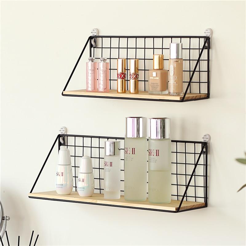 Home Office Wall Shelf Rack Iron Wooden Shelf for Kitchen Bedroom Office Decorative Wall Shelves Organizer DIY Desk Storage Rack 4