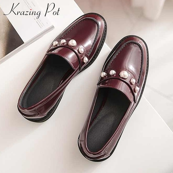Krazing pot new brand fashion pearl loafers shoes genuine leather round toe cozy low heels slip on women solid sweet pumps L50