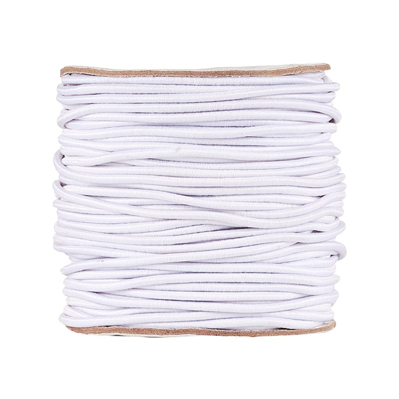 2mm Round Elastic Cord With Nylon Outside And Rubber Inside For Jewelry Making Rubber Bands Stretch String Sewing 40m/roll