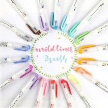 Mild Liner Double Headed Highlighter Pen Brush Pen Japanese Stationery Kids Color Painting Marker Pen School Office Supplies
