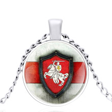New Silver Color Holy Knight  Glass Dome Metal classic Necklace Vintage Men and Women Jewelry Gift