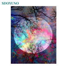 SDOYUNO acrylic Digital Painting By Numbers Landscape Colourful Moon 60X75cm pictures by numbers DIY Frameless On Canvas(China)