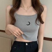 Knitted Tank Top Knit Crop Women Sleeveless 2021 Summer New Basic Moon T-Shirts Casual Bodycon Vest Streetwear Y2K Vintage Wear