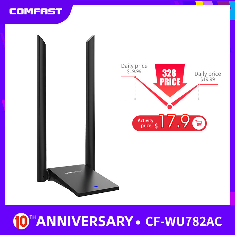Comfast USB 3.0 Wireless Wifi Adapter Dual Band 2.4+5 GHz 150 -1300 Mbps 802.11AC 802.11 A/b/n/g/ac With 2*6dbi Wi Fi Antennas