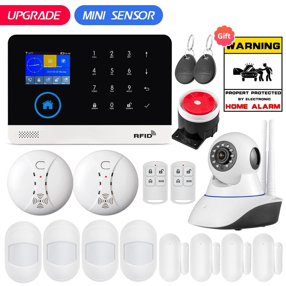 Pg103 wifi gsm gprs sistema de alarme segurança em casa mini pir movimento detector da porta 9 língua 2.4 polegada tft app controle rfid
