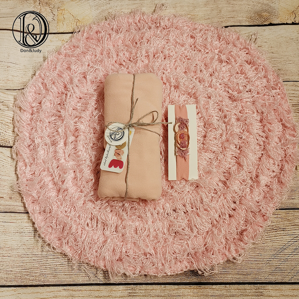 Don&Judy Round Blanket +Stretch Double-Sided Wrap+Headband Newborn Photography Basket Stuffer Filler Sets For Photo Shoot