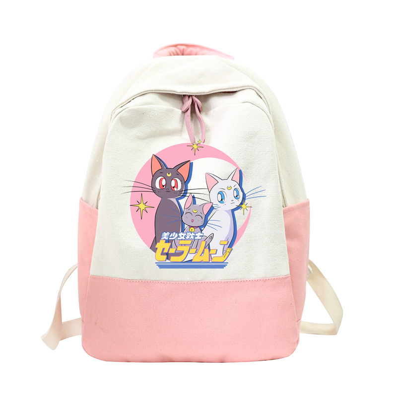 New Sailor Moon Canvas Backpack for Women Cartoon Anime Travel Backpacks Female School Bag for Teenage Girls Book Mochilas