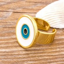 Trendy Evil Eye Open Rings For Women Jewelry Gift Vintage Circle Gold Color Adjustable Punk Rings Best Party New Year Gift