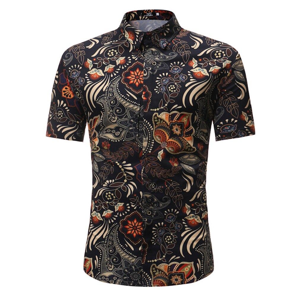 Daily Slim Flower Print Short Sleeve Stylish Casual Summer Top Men Shirt Fashion Beach Turndown Collar Hawaii