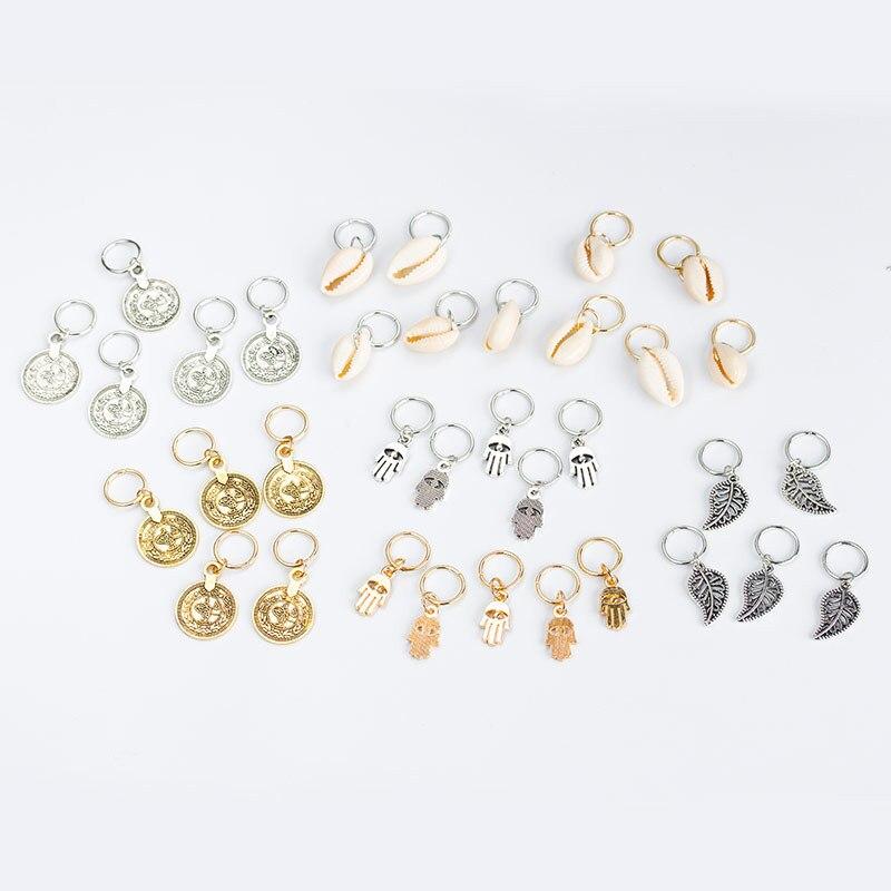 Silver Hair Braid Dreadlocks Bead 5 Pcs Per Set Per Lot Gold Tone Hair Cuffs Charm Dreadlock DIY Pendant Hair Accessories