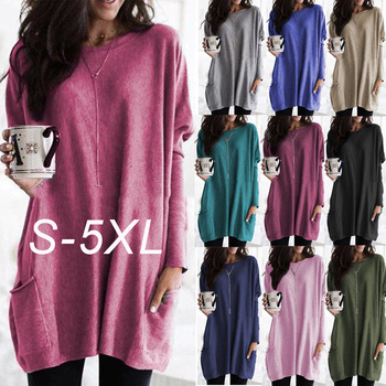 Plus Size S-5XL Spring Autumn New Female Long Sleeve Pocket Casual T-shirt Street Solid O-Neck Loose Long Pullover Women T shirt [eam] 2020 spring trendy new personality loose big size solid color half sleeve o neck jumpsuit women ya11601