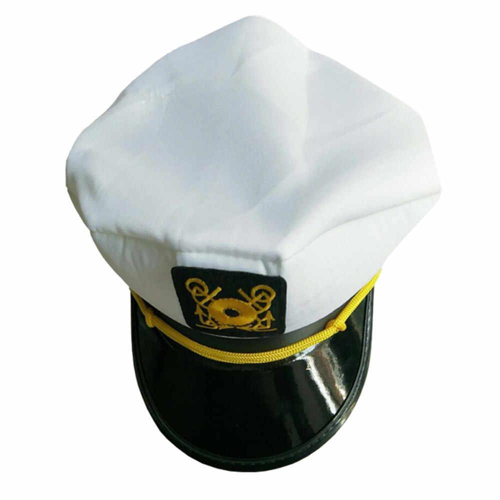 Marinero barco yate sombrero de capitán Marina Marines Almirante oro blanco gorra militar sombrero náutico blanco yate sombrero de capitán negro