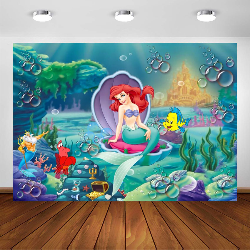 Photography Backdrops Under the Sea Little Ariel Mermaid Photo Background Photocall Birthday Party Decorations Backdrop Custom