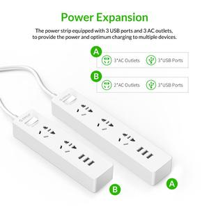 Image 5 - Orico Power Strip 1.5m Cable Electrical Socket Plug 250V 2500W 5V 2.4A 3USB Ports with EU Plug Adapter Extension Power Strip