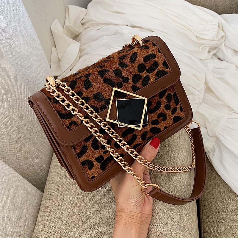 Winter Leopard Leather Crossbody Bags For Women 2019 Designer Lock Shoulder Messenger Bag Small Chain Handbags And Purses