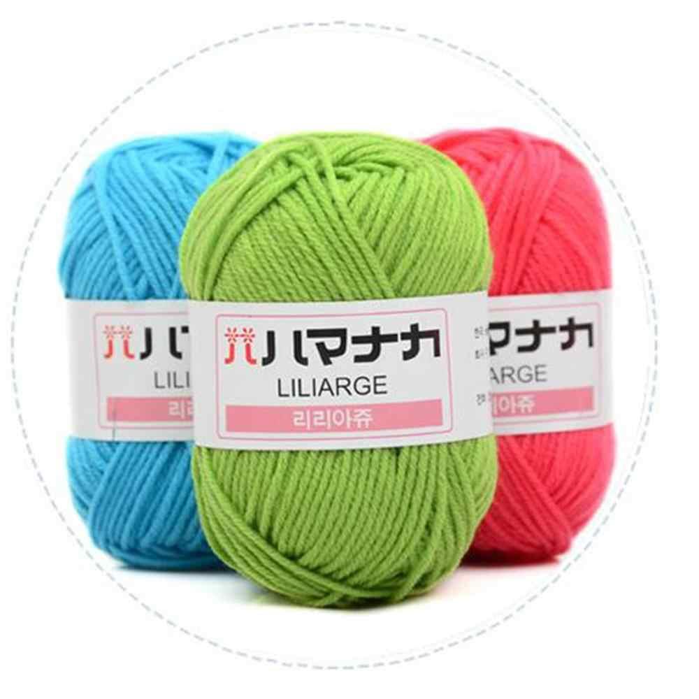 4 parts peigné au Crochet lait coton fil doux chaud laine mélangé fil vêtements couture fil à tricoter à la main écharpe chapeau fil