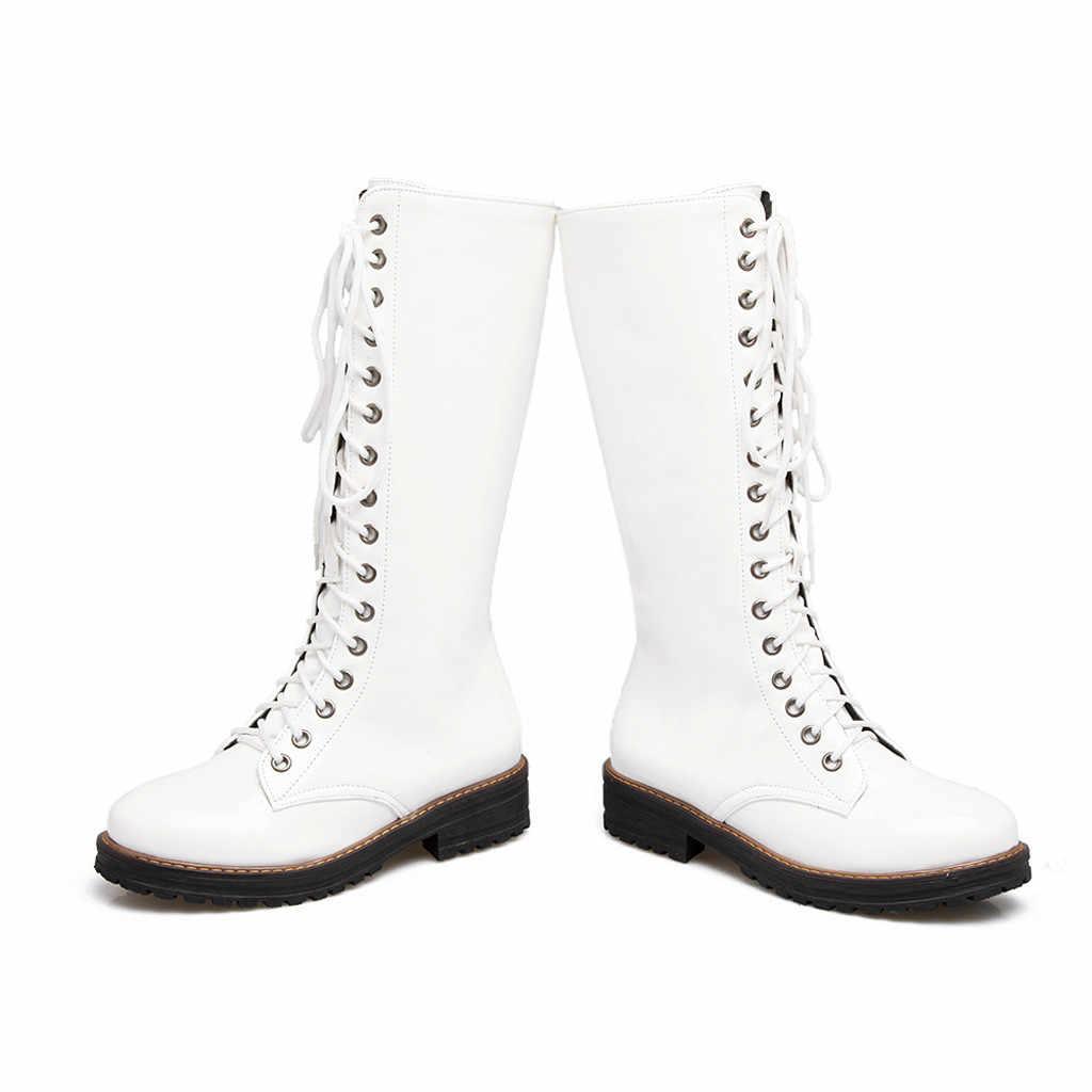 Kadın bot ayakkabı moda sıcak botlar kare topuklu ayakkabılar dantel-up rahat uzun sonbahar kış moda kadın uzun çizme yeni 2020