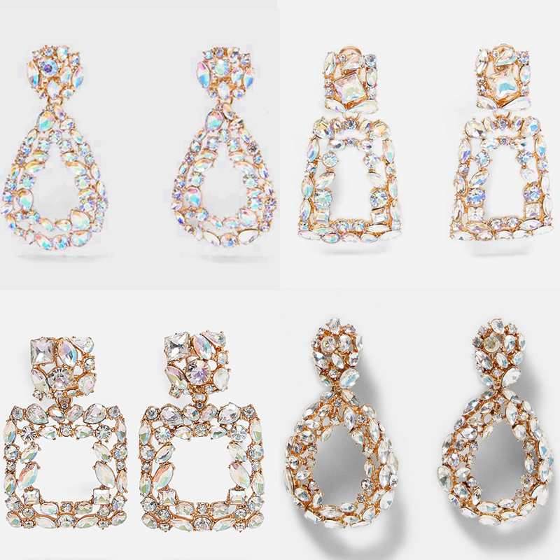 Dvacaman Water-Drop-Earrings Bridal-Jewelry Glass Square Crystal Geometric ZA Trendy