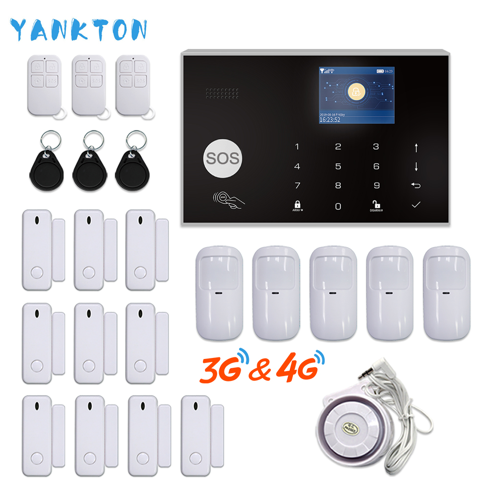 YANKTON WiFi 3G 4G GSM Home Security Alarm System Tuya Smart Burglar Alarm Kit With 433MHz Wireless Detectors Remote Arm&Disarm