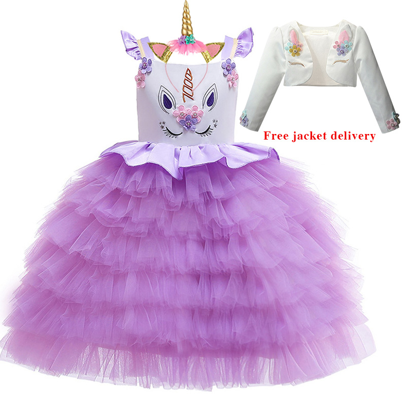 He89cdb7fa1dd453c909e88d667dbd271D New Unicorn Dress for Girls Embroidery Ball Gown Baby Girl Princess Birthday Dresses for Party Costumes Children Clothing