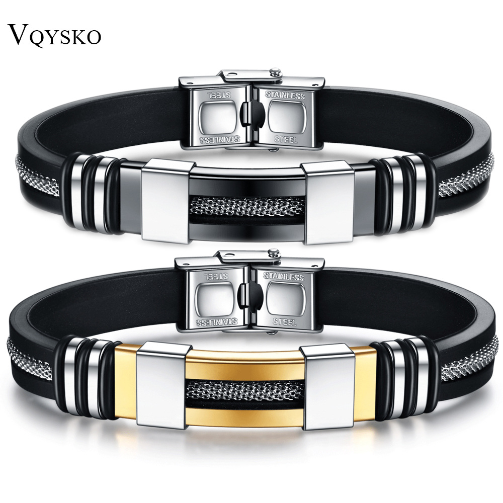 Men Wrist Band Bracelet With Black Grooved Rudder Silicone Mesh Link Insert Punk Wristband stainless Steel Stylish Casual Bangle