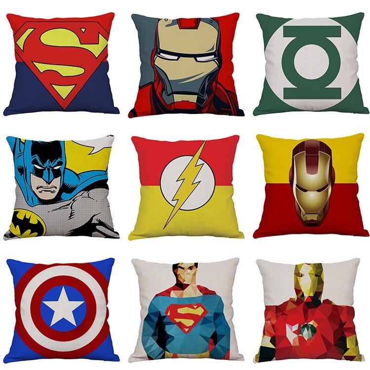No Pillow Core Pillow Cover Marvel Avengers Plush Carpet Iron Man Captain America Spider-man Cotton Christmas Gift Toys