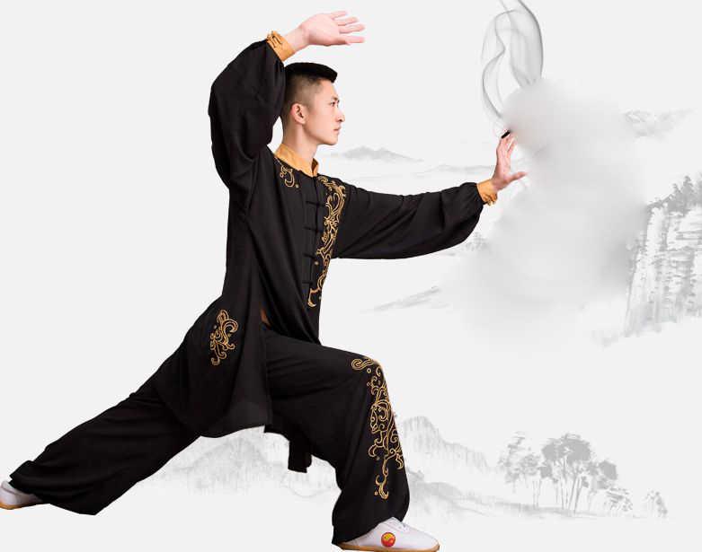 Unisex Bordir Dragon Totem Wing Chun Cocok Tai Chitaiji Kung Fu Kinerja Seragam Bela Diri Seni Wushu Pakaian Hitam